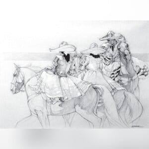 """""""Tres Charra"""" is one of the horse drawings Mikki Senkarik had displayed when she first met Jack White at an art show at Rolling Oaks Mall. Mikki and Jack decided to keep it for their collection! COURTESY"""